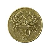 50 icelandic krona coin 2001 obverse. Isolated on white background stock images
