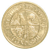 100 icelandic krona moneta Obrazy Stock