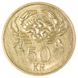 50 icelandic krona moneta Zdjęcia Royalty Free