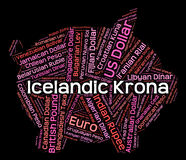 Icelandic Krona Shows Worldwide Trading And Exchange Royalty Free Stock Photos