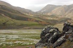 Icelandic landscape. The  beginning of  Landmannalaugar trek in Iceland in the summer Royalty Free Stock Image