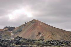 Icelandic landscape. The scenic  landscape of Landmannalaugar trek with volcano in Iceland Stock Photo