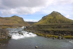Icelandic landscape. The middle part of Landmannalaugar trek in Iceland in the summer Stock Photography