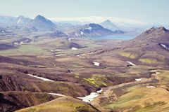 Icelandic landscape. Landscape with Alftavatn lake and glacier in the background, Iceland Royalty Free Stock Photo