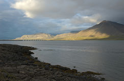 Icelandic landscape. Mountains in sunset light from Borgarnes, Iceland Stock Photography