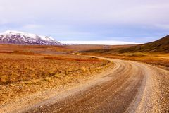Icelandic landscape with access road to glaciers Royalty Free Stock Photography