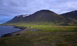 Icelandic landscape with the campsite at the hot pot Grettislaug on peninsula Skagi royalty free stock images
