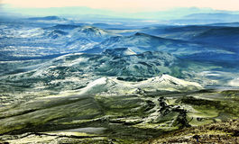 Icelandic landscape. With colcanosin full action Royalty Free Stock Photography