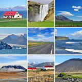 Icelandic landscape - collage. Icelandic landscape: mountains and roads Stock Photography
