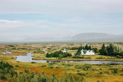 Icelandic landscape, country houses and rural life Stock Photography