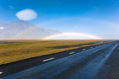 Icelandic Landscape with double rainbow Royalty Free Stock Image