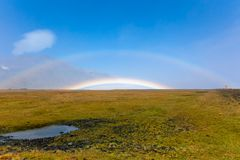 Icelandic Landscape with double rainbow Royalty Free Stock Photos