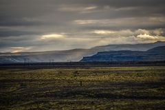 Icelandic landscape, endless green spaces and mountains. Royalty Free Stock Image