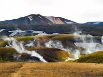Icelandic landscape and geothermal area near Landmannalaugar Stock Photography