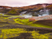 Icelandic landscape and geothermal area near Landmannalaugar Stock Photos