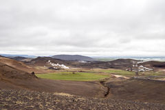 Geothermic landscape Iceland. Geotermal plant in volcanic landscape, Iceland Royalty Free Stock Photography