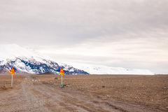 Icelandic landscape with glacier access road, Iceland Royalty Free Stock Photography