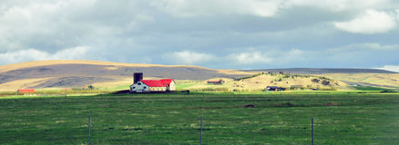 Icelandic landscape with a house Stock Images