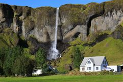 Icelandic landscape with a house Royalty Free Stock Image
