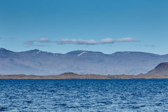 Icelandic landscape. With mountains and ocean Royalty Free Stock Image