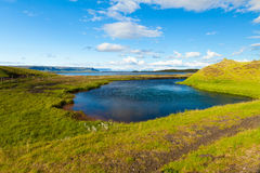 Icelandic landscape with lake and sea Royalty Free Stock Image