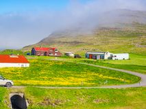 Icelandic landscape of a mountain with a field of yellow flowers Stock Photos