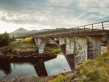 Icelandic landscape with an old bridge Stock Image