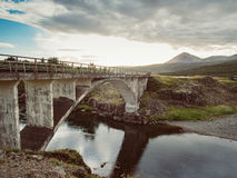 Icelandic landscape with an old bridge Royalty Free Stock Photography