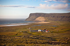 Icelandic Landscape with small Location at Ocean Coastline Stock Photos
