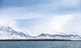 Icelandic landscape with snowy mountains Royalty Free Stock Photos