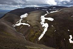 Icelandic landscape. On top of the mountain range Svinadalsfjall. stock photo