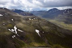 Icelandic landscape. The valley between the Svinadalsfjall and the Vatnsdalsfjall stock photography