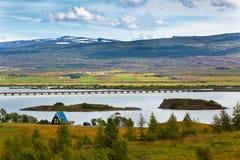 Icelandic Landscape: View of Fellabaer Village (Egilsstadir) Stock Image