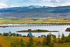 Icelandic Landscape: View of Fellabaer Village (Egilsstadir) Royalty Free Stock Photos