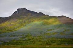 icelandic liggande Berget Spakonufell nära staden av Skagaströnd arkivbilder