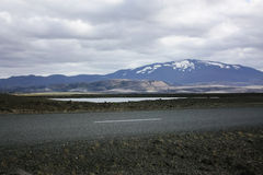Icelandic mountain landscape with road Stock Photos