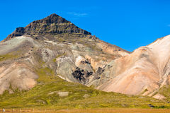 Icelandic mountain landscape under a blue summer sky Stock Photography