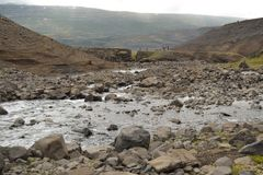 Icelandic Mountain Stony River Royalty Free Stock Image
