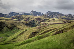 Icelandic mountains. And fields landscape Royalty Free Stock Photo