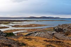 Icelandic mountains and sea. Mountains and sea view from Thingvellir National Park, Iceland Stock Photography