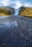 Icelandic Natural wonders spectacular Skogafoss. Amazing natural wonders  of spectacular Skogafoss waterfall  in Iceland Scandinavian Landscape Europe Stock Image