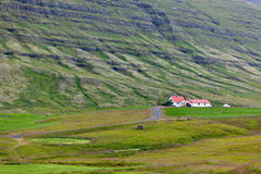 Icelandic Nature Landscape with Mountains and Dwellings Stock Image