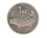 Icelandic one krona coin. Isolated Royalty Free Stock Photos