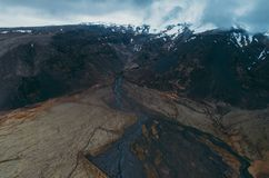 Icelandic panoramas, aerial view on the lands. From the sky, aerial photography stock photography