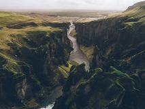 Icelandic panoramas, aerial view on the lands. From the sky, aerial photography royalty free stock image