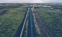 Icelandic panoramas, aerial view on the lands. From the sky, aerial photography stock image