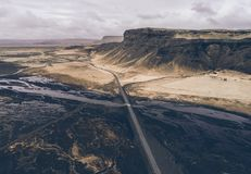 Icelandic panoramas, aerial view on the lands royalty free stock photo