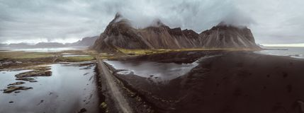Icelandic panoramas, aerial view on the lands royalty free stock image