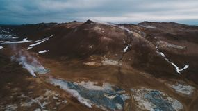 Icelandic panoramas, aerial view on the lands. From the sky, aerial photography stock images