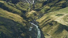 Icelandic panoramas, aerial view on the lands royalty free stock images